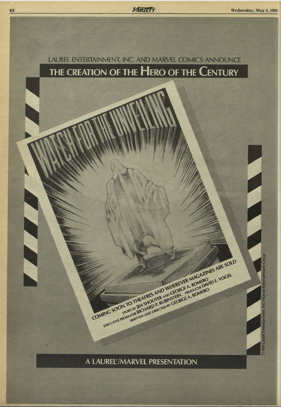 """A 1983 ad for the unveiling of """"The Hero of the Century."""""""